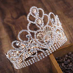 High quality full rhinestone round beauty queen crown crystal pageant crowns and tiaras for wholesale
