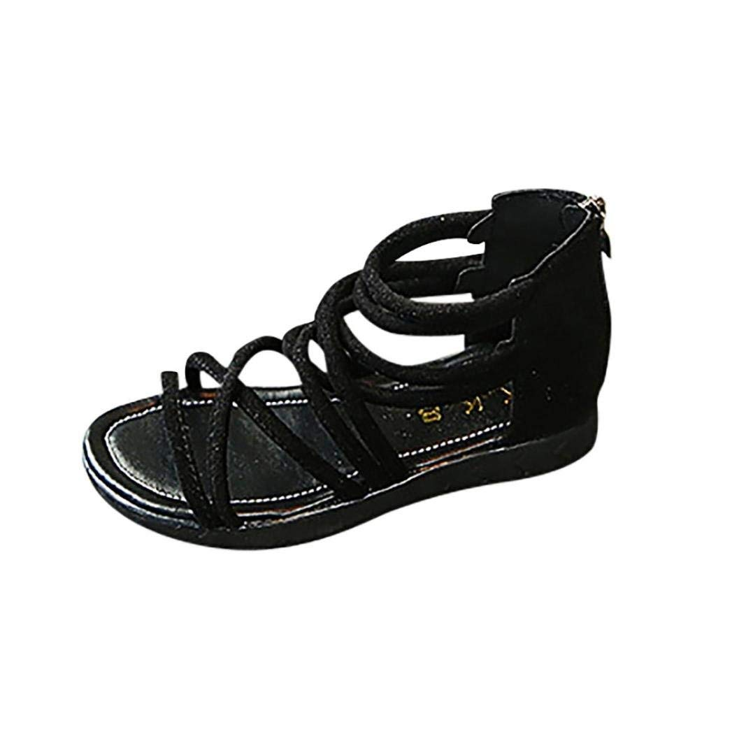NEARTIME Kid Sandals, 2018 Summer Children Infant Baby Girls Solid Color Leather Boot Beach Zipper Casual Shoes (Age:4-4.5T, Black)