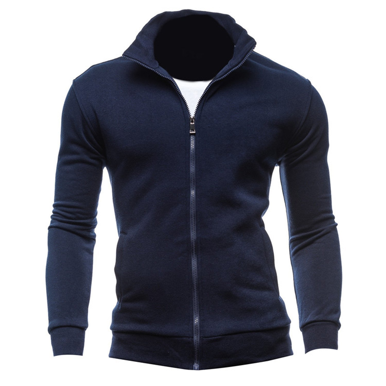KLJR Men Solid Hooded Long-Sleeve Trim-Fit Zip-up Tracksuit Top