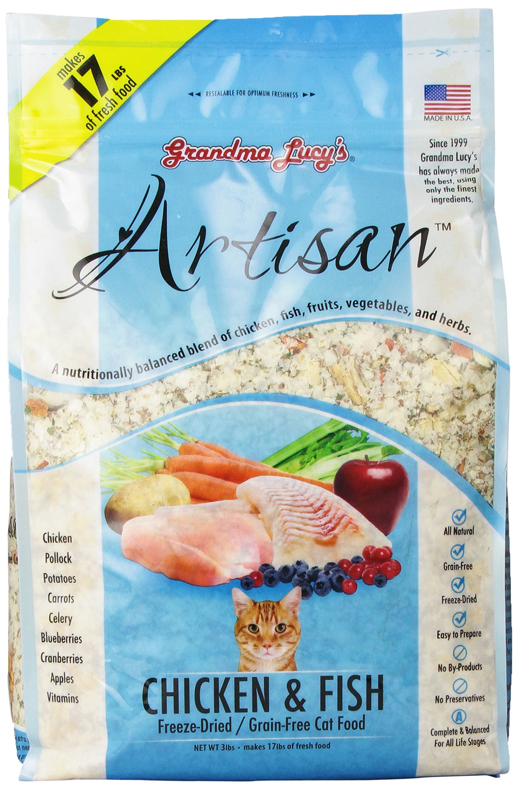 Grandma Lucy's Freeze-Dried Grain-Free Cat Food: Artisan Chicken & Fish 3lbs