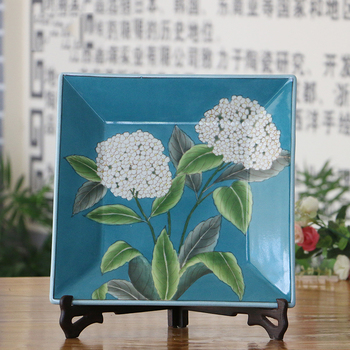 12 inch square hand painted ceramic hanging wall support plate porcelain home and office decoration decorative & 12 Inch Square Hand Painted Ceramic Hanging Wall Support Plate ...