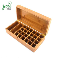Solid Wood bamboo Essential Oil Bottle Storage box with Laser Engraving Logo