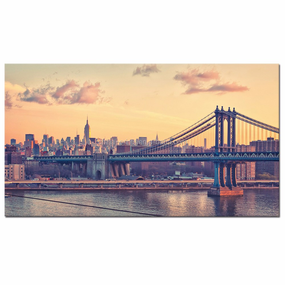 Usa Manhattan Bridge At Dawn Canvas Prints/new York Cityscape Canvas ...