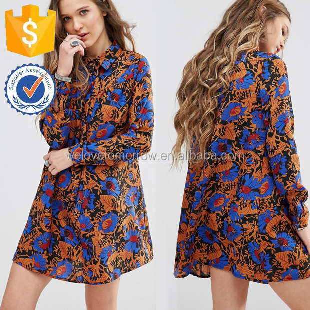 Spring Glamorous Swing Dress With Tie High Neck In All Over Print Manufacture Wholesale Fashion Women Apparel (TF0547D)