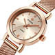Luxury modern girls hand mesh band wrist watch for lady rose gold