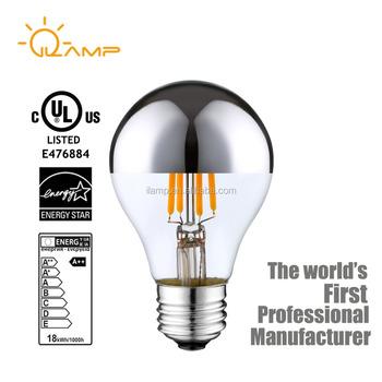 sliver mirror lamp ul bulbs e12 dimmable 4 watt led filament candelabra light bulbs