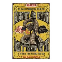 Liberty or Death Don't Tread on me Vintage Tin Sign Decor Wall Cafe Bar Wave Garden Room Garage Club Plaque Painting Retro Metal