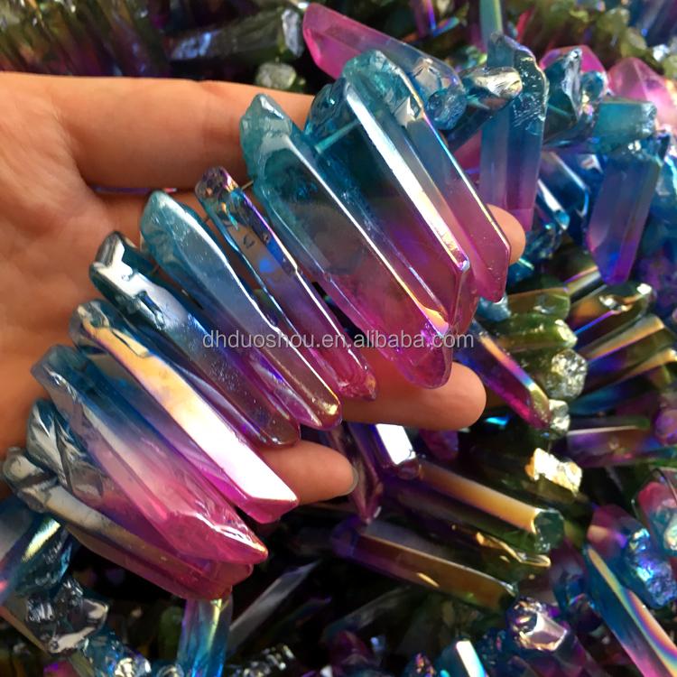 Wholesale Bulk Natural Spirit Crystals Points Coated Angel Aqua Aura ...