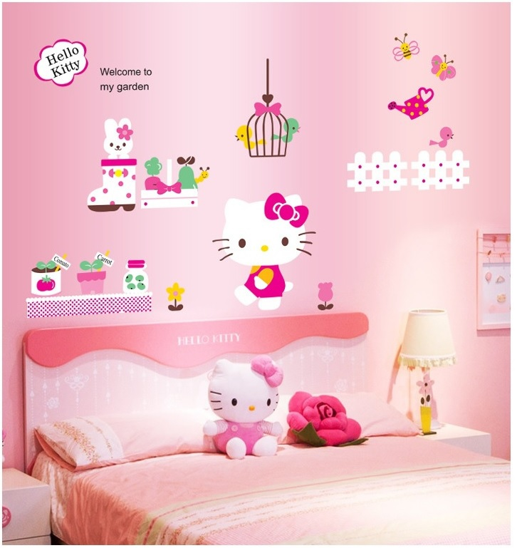 Hello Kitty Home Decor: Hello Kitty Cartoon My Garden Wall Stickers Hello Kitty