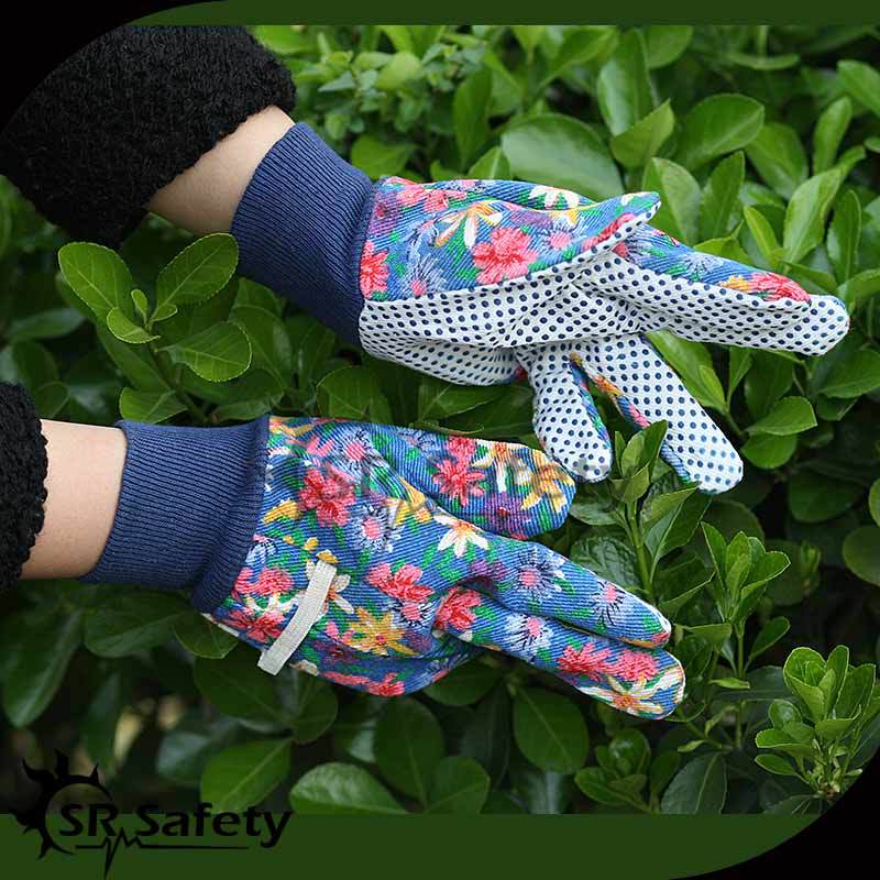 SRSAFETY pvc working garden hand gloves Flower printted popular safety gloves made in china