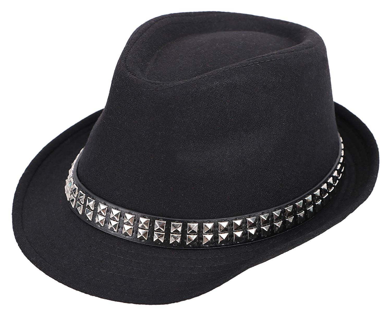 a4a7080a5112c Get Quotations · Livingston Classic Boy s Trilby Short Brim Fedora Hat  w Hat Belt