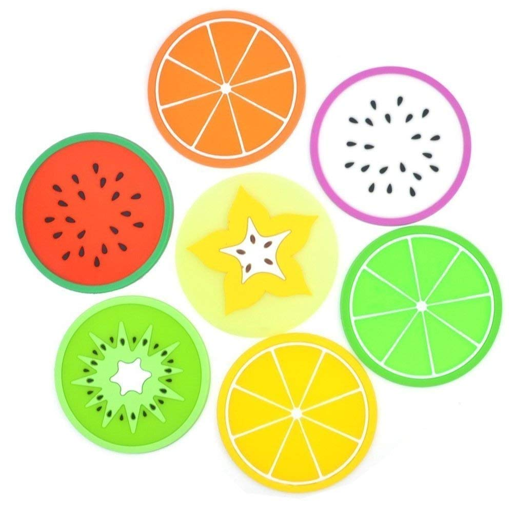 7pcs Colorful Fruit Slices Silicone Coasters for Drinks and Coffee,Non-Slip Unique Cup Mat Drink Placemat,Fruit Green Orange Pitaya Kiwi Carambole Watermelon Lemon