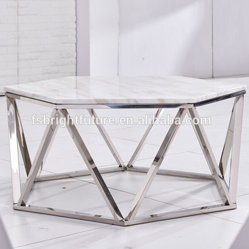Hexagon White Marble Top Coffee Table For Living Room Buy White
