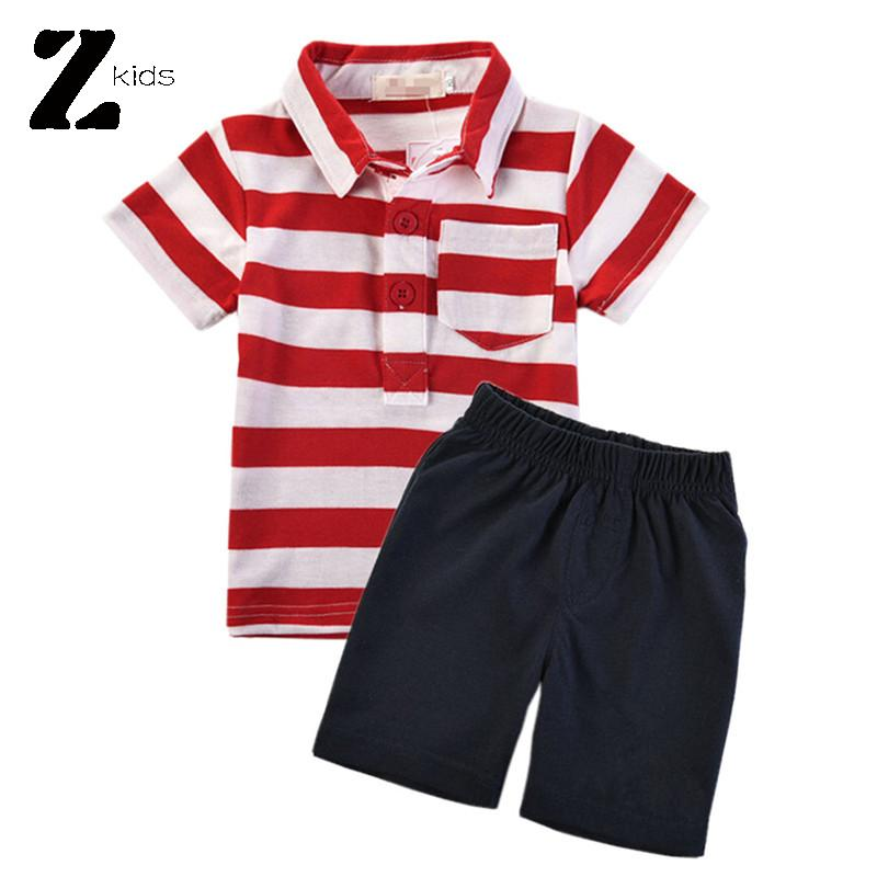 Baby Boy Clothes Brand Striped Polo Kids + Short Pants Summer Style 2015 Casual Cotton Clothing Shorts Suit Kids Boy Top Quality