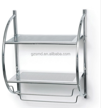Chrome Metal Wire 2 Tiers Wall Mounted