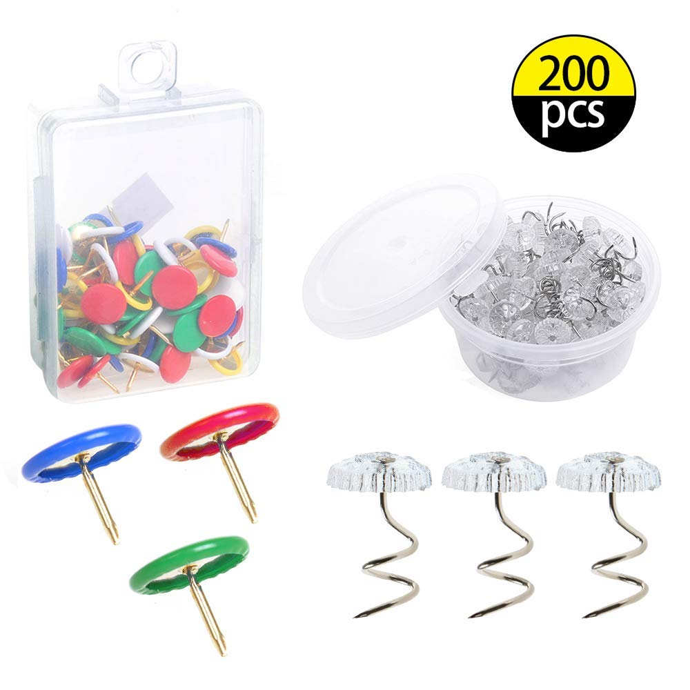 LAMPTOP 200Pcs Twisty Pins and Thumb Tacks Kits with Box, 100pcs Colored Drawing Pins Plastic Round Head Thumbtack and 100pcs Clear Heads Twist Pins for Home, School,Office Thumbtack, Slipcover