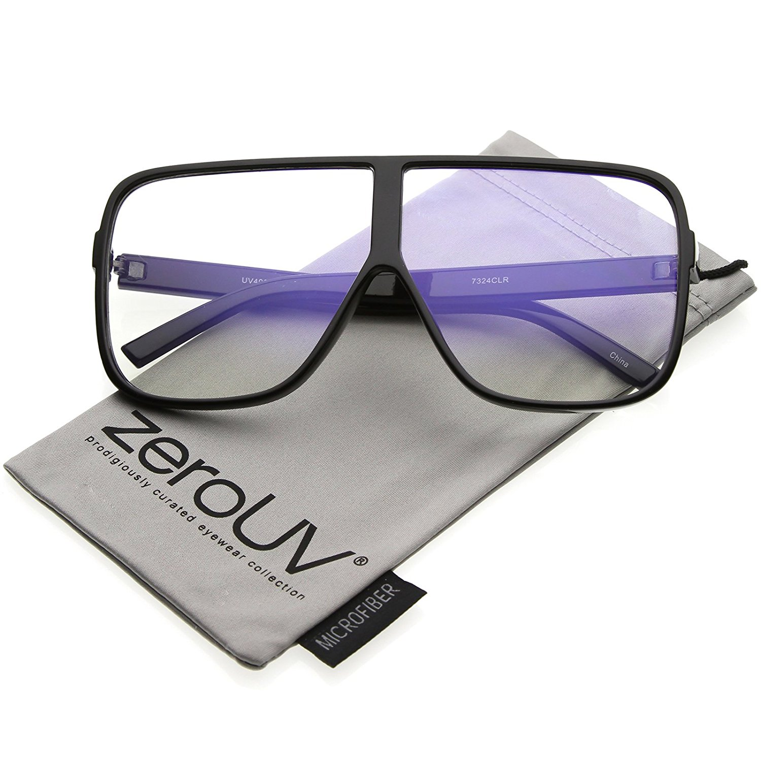zeroUV - Oversize Thick Flat Top Frame Super Flat Clear Lens Square Eyeglasses 69mm