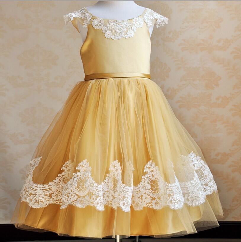 cd5bdac14f3 ... golden yellow flower girl dresses ...