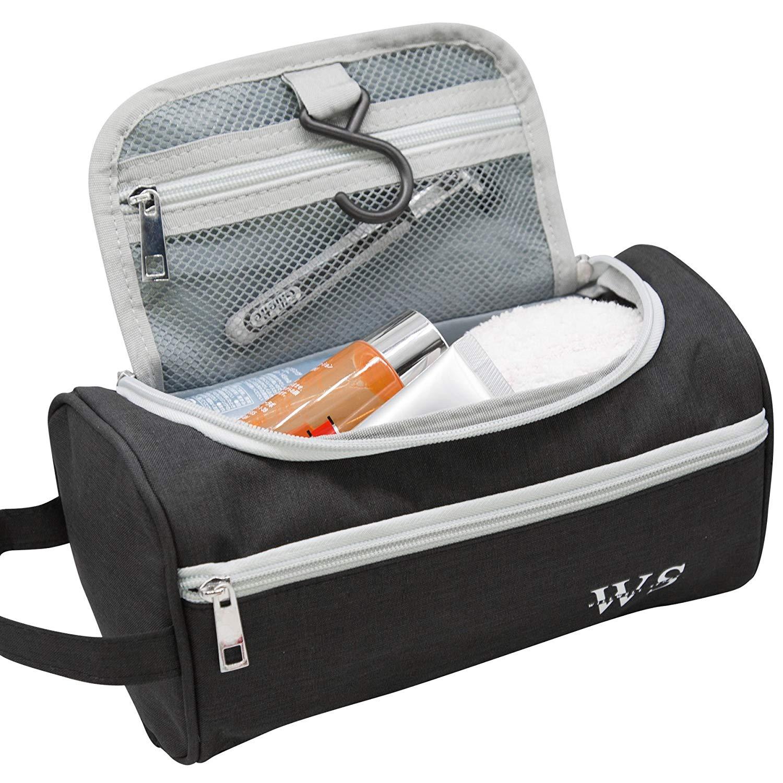 Toiletry Bag Travel Wash Bag Hanging Hook Dopp Kit Healthcare Bag Organiser Travel for Bathroom Shower Shaving Grooming Accessory Unisex (Black)