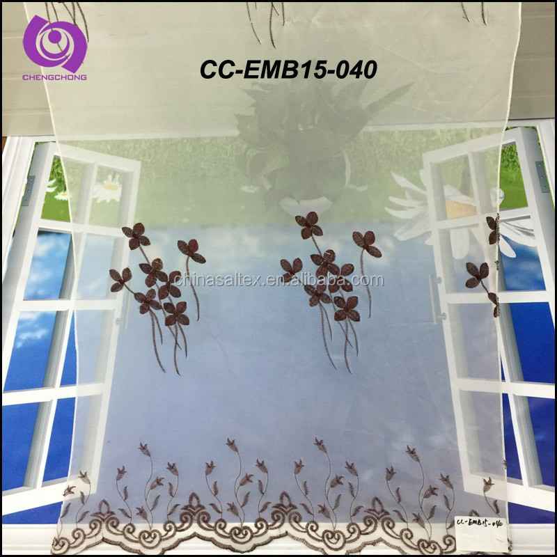 Embroidery (EMB) Curtain Fabric for Windows Made of 100% Polyester Voile