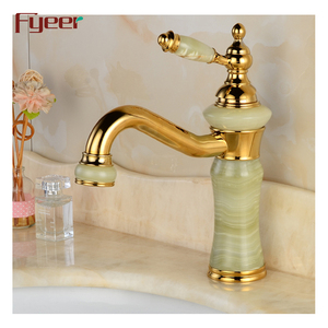 wholesale luxury basin faucet european style golden water tap with jade single lever