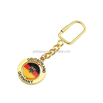Cheap Price Giftaways Deustchland Souvenirs Metal Germany Flag Keyrings Gold Spinner Keychain Holder