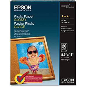 "Epson Photo Paper . For Inkjet Print . Letter . 8.50"" X 11"" . 52 Lb . Glossy . 92 Brightness . 20 / Pack . White ""Product Type: Supplies/Printing Media"""