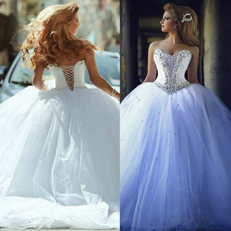 Wedding Dresses Ball Gown Corset: Vintage Ball Gown Rhinestones Wedding Dresses Beaded Lace