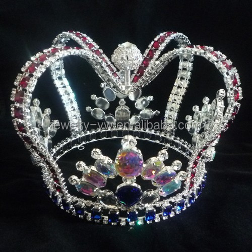 fashion metal full crystal round pageant custom king crown