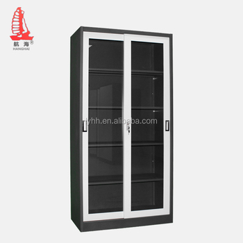 Full Height Office Furniture Multiple Layers Bookcase Metal Display Cabinet  Sliding Glass Door Filing Cabinet With