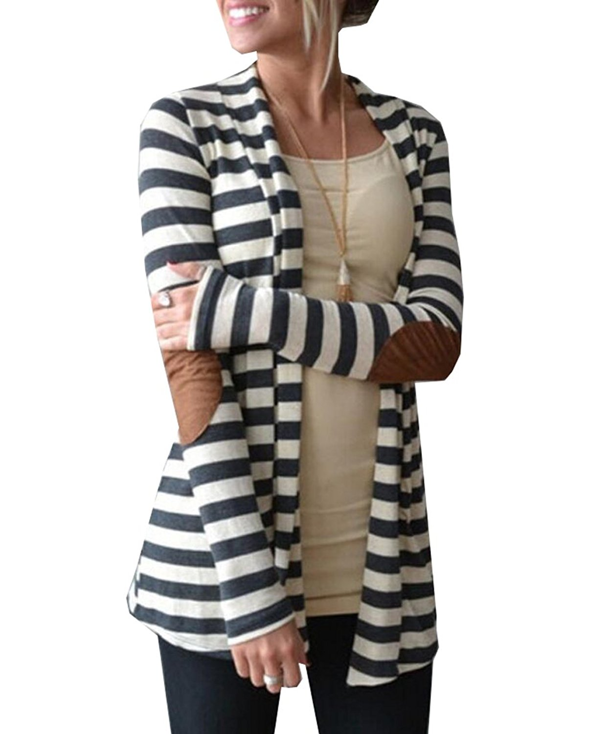 8e78a52de43 Get Quotations · ZAWAPEMIA Womens Cardigan Elbow Patch Shawl Collar Striped  Sweater