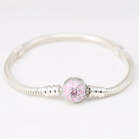 Blooming Dahlia Sterling S925 Silver Bracelet for European Bracelets DIY Making