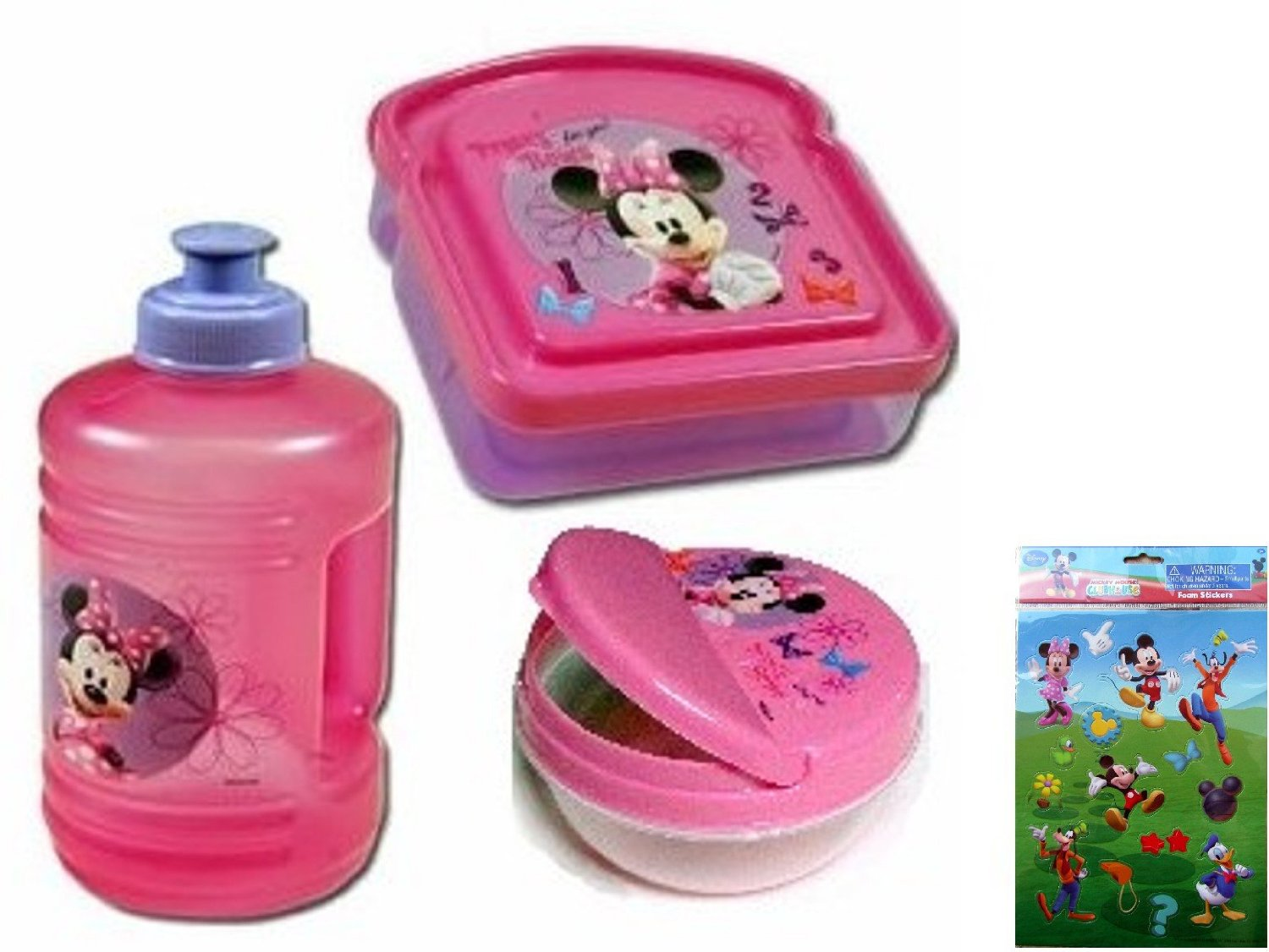 Minnie Mouse Water Bottle, Minnie Mouse Sandwich Keeper, and Minnie Mouse Snack Container - 3 Item Minnie Mouse Boutique Gift Set with a Winnie Pooh Sticker Set (4 Sheets) - All Are BPA Free and Non-toxic