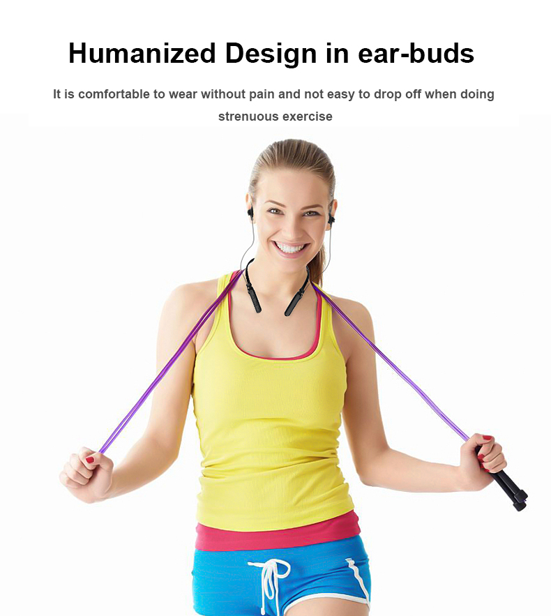 New  neck-mounted sports Blue tooth headset in-ear magnetic metal Wireless Earphone headset gift for iphone