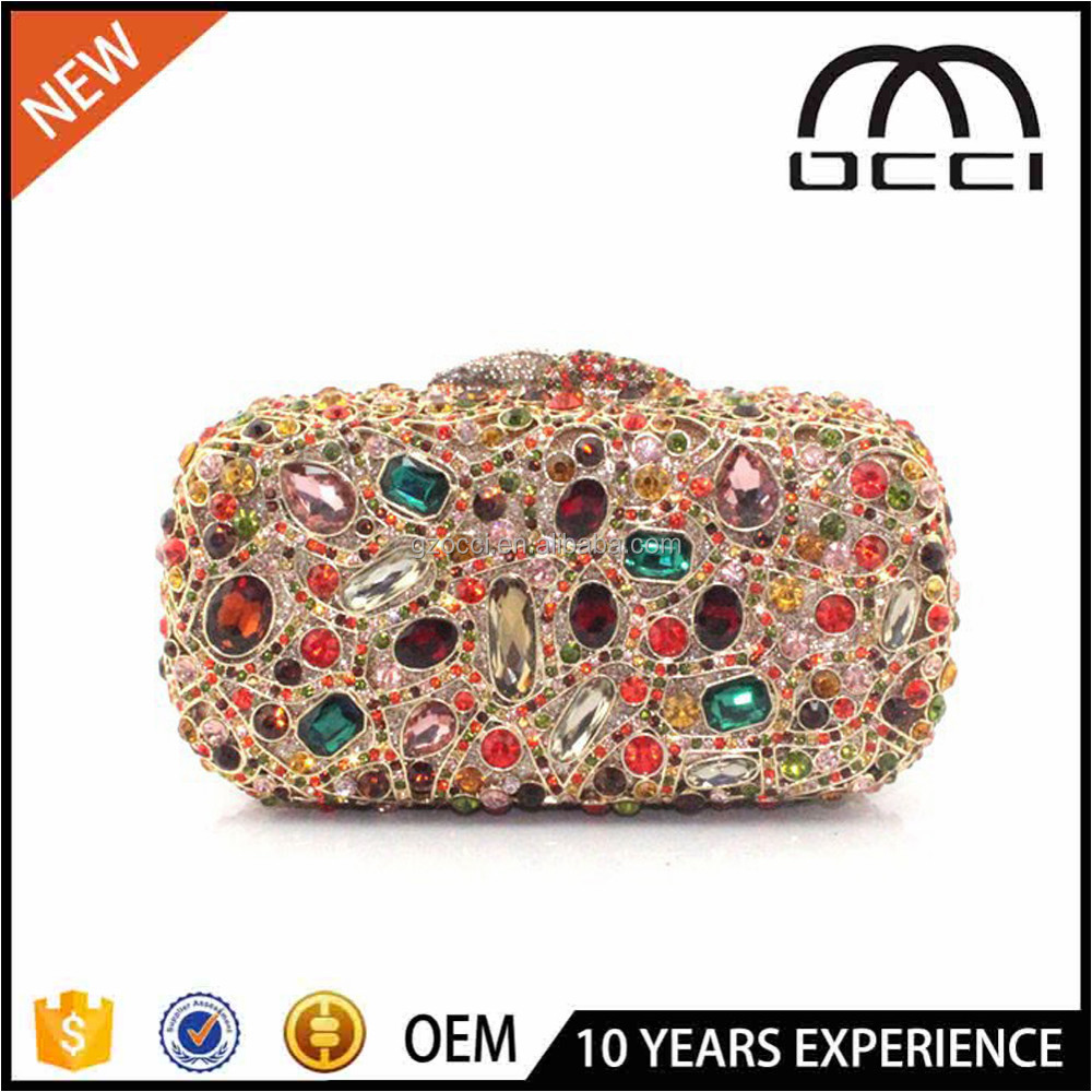 2016 Fashion Colorful Crystal Stone Jeweled Clutch Purse Ladies Hand Bag Clutches SC2230