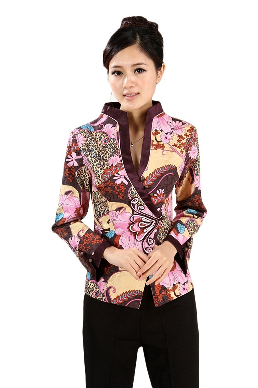 AvaCostume Women's Chinese Qipao Style Vintage Standing Collar Top Blouse