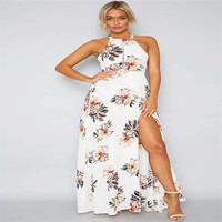 thailand summer hot sale sexy girls backless strap neck prints florals beach party maxi dress