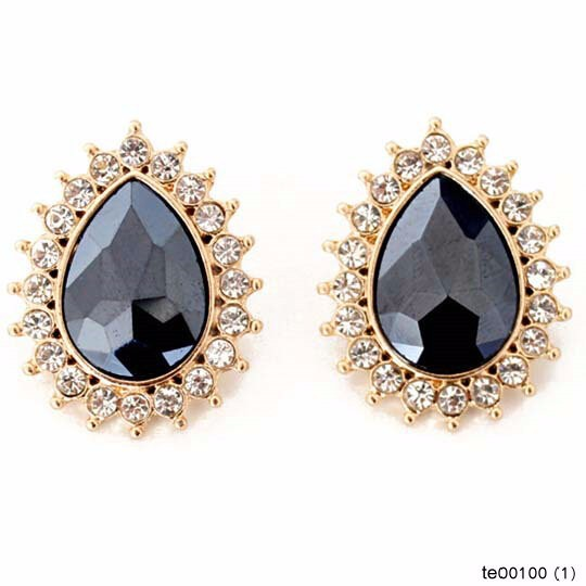 Fashion Clear Crystal Around Black Teardrop Stud Earrings