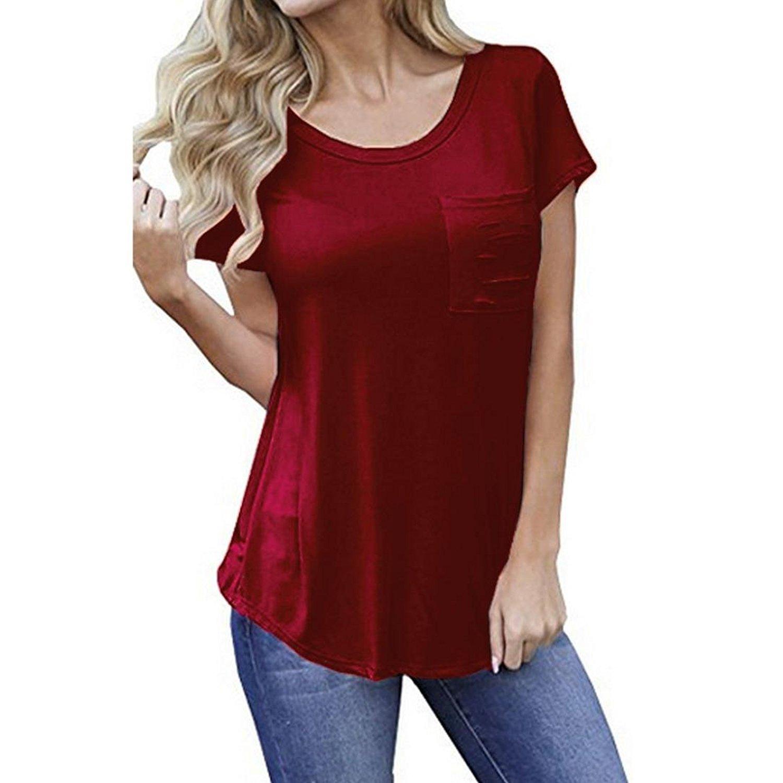 d6d5040e9e4b5 Get Quotations · DondPO Summer Women Casual Loose Pure Hole Pocket Short  Sleeve Round Neck T Shirt Crop Top