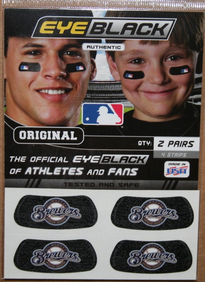 Milwaukee Brewers Original MLB Licensed EyeBlack - 12 Pairs (24 total strips) Authentic Eye Black Sun-Glare Sticker Strips for Baseball Athletes and Team Fans (Six packs of two pairs each)