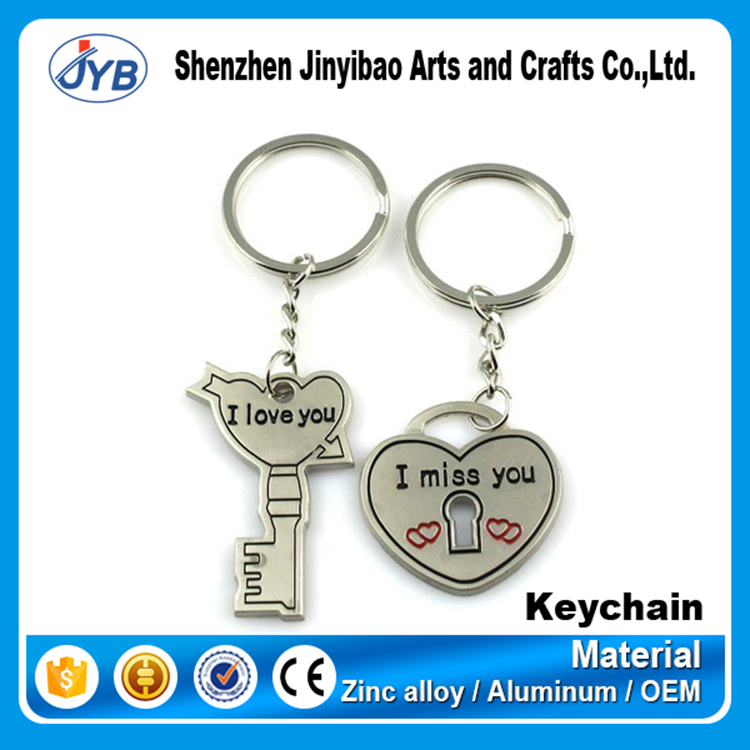 love you engraved couple heart shape keyring key and heart keychain