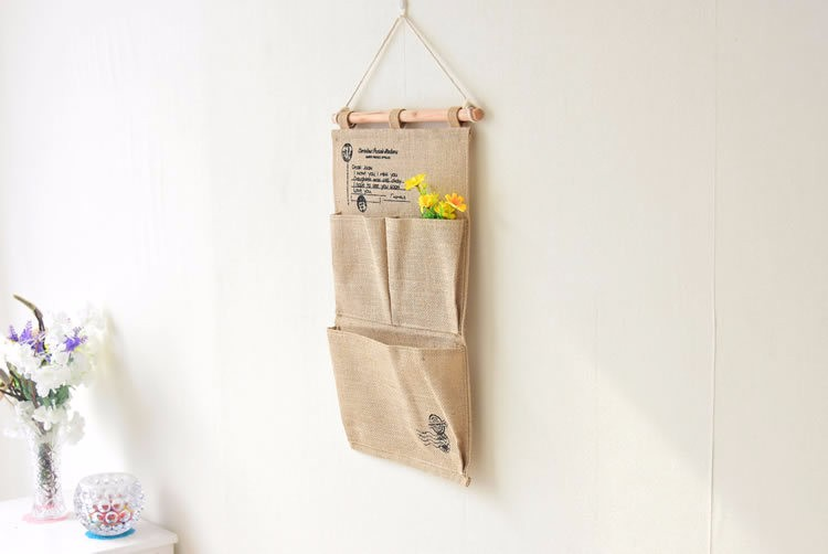 ᑎ‰Stamps Jute Three ₪ Pocket Pocket Multi-layer Carrying