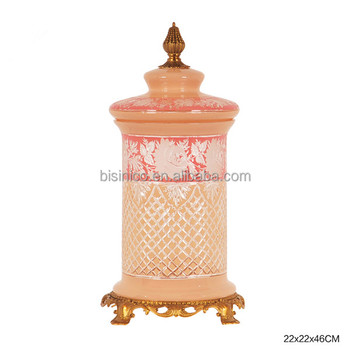 ornate colored textured glass lided jar pink crackle glass candy