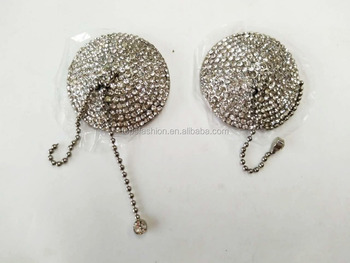 74940c32e Sexy Diamante Round Nipple pasties with Tassels chain Sequin Heart Nipple  cover