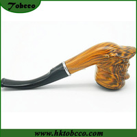 Handmade scrub smoking pipe black solid wood smoke pipe cigarette holder Bending type imported filter