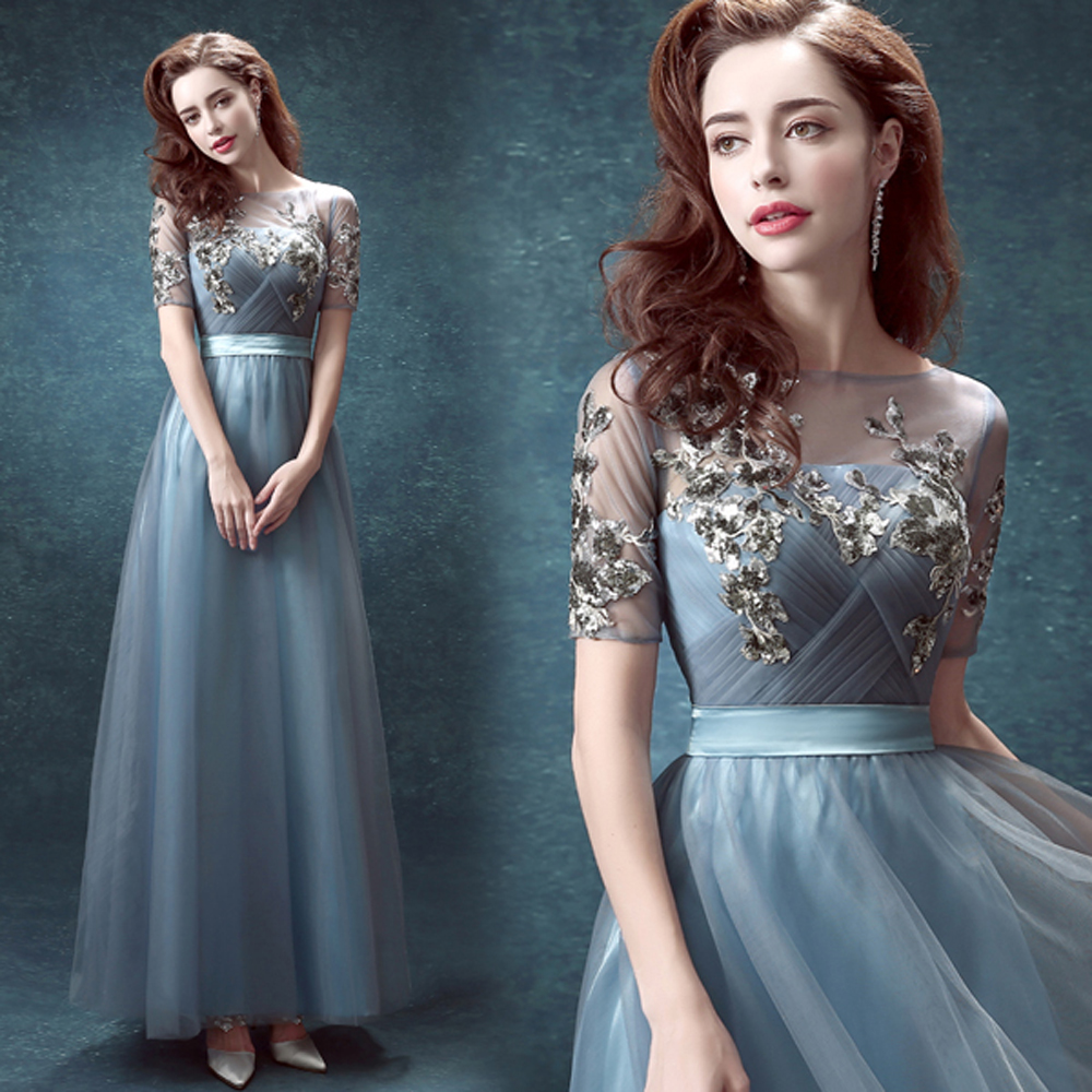 Hot&sexy Court Lace Blue Wedding Dress 2016 Short Sleeves