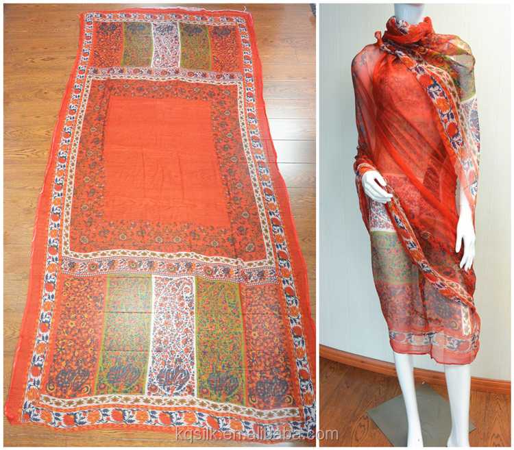Indian sari positioning print small flower robe 100% silk chiffon crinkle georgette fabrics