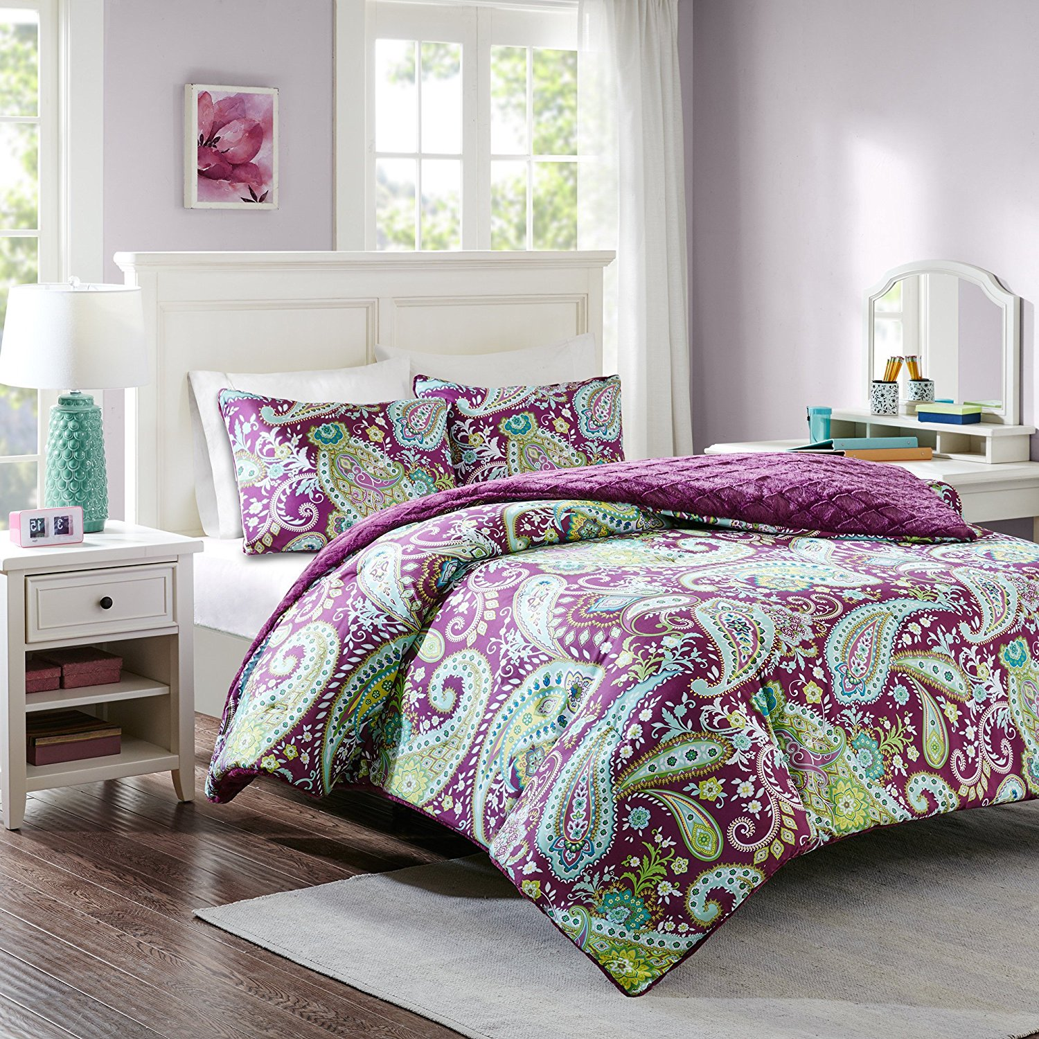 3 Piece Girls Dark Purple Green White Paisley Theme Comforter Full Queen Set, All Over Boho Scrollwork Flower Motif Bedding, Multi Floral Scroll Reversible Embossed Faux Fur Diamond Themed Pattern