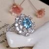 wholesale luxury adjustable zircon natual gemstone blue topaz red garnet engagement ring 925 sterling silver jewelry