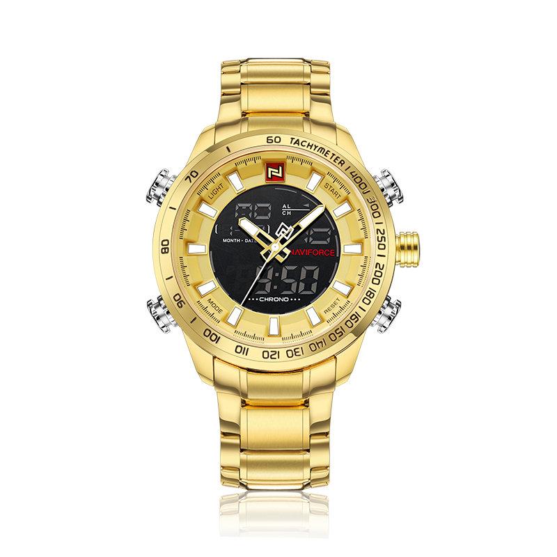 NAVIFORCE Watch 9093 Quartz+Digital Luxury Mens Wristwatch Stainless Steel 30M Waterproof China Brand Watch relojes, As picture